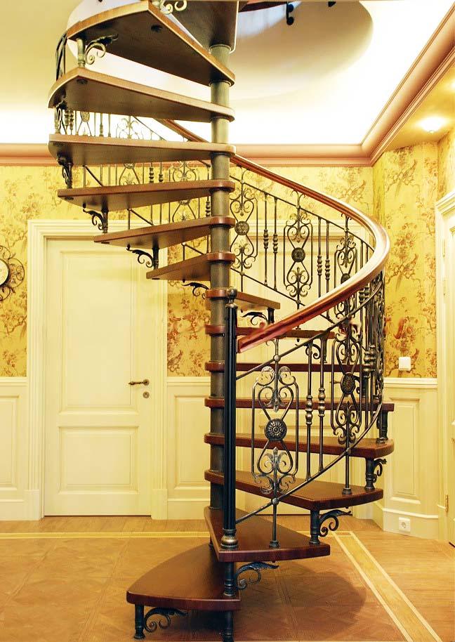 Кованые перила, заказать для винтовой лестницы